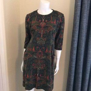 I. McLaughlin printed stretch knit dress M